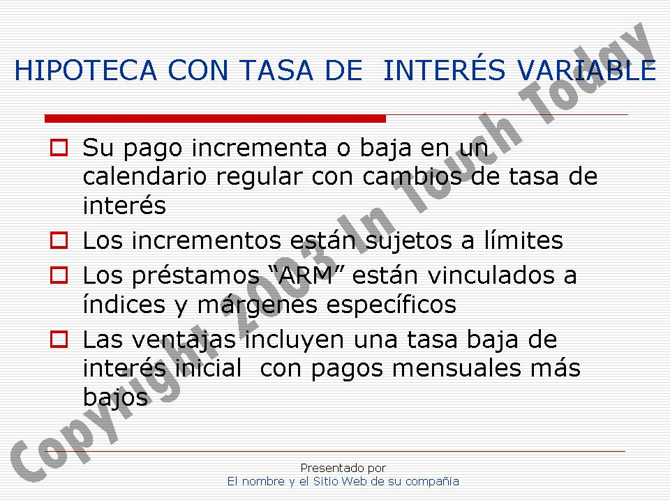 HIPOTECA CON TASA DE INTERÉS VARIABLE