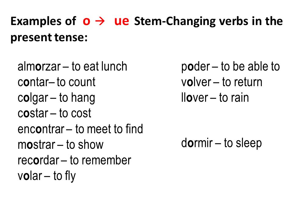 Examples of o  ue Stem-Changing verbs in the present tense: