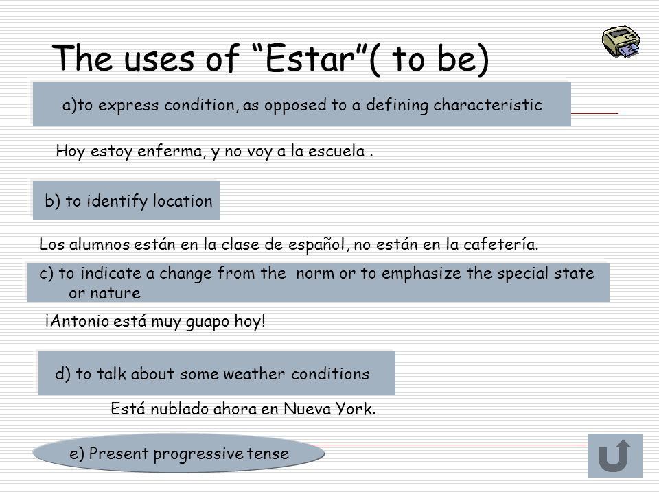 The uses of Estar ( to be)
