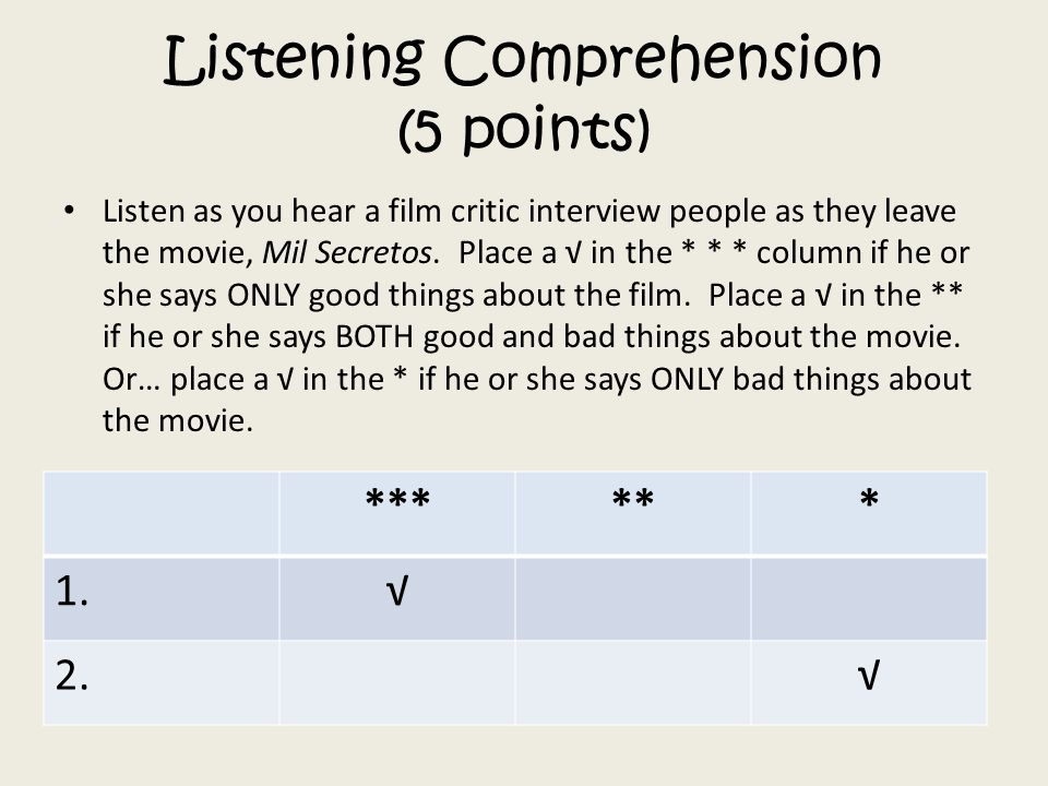 Listening Comprehension (5 points)