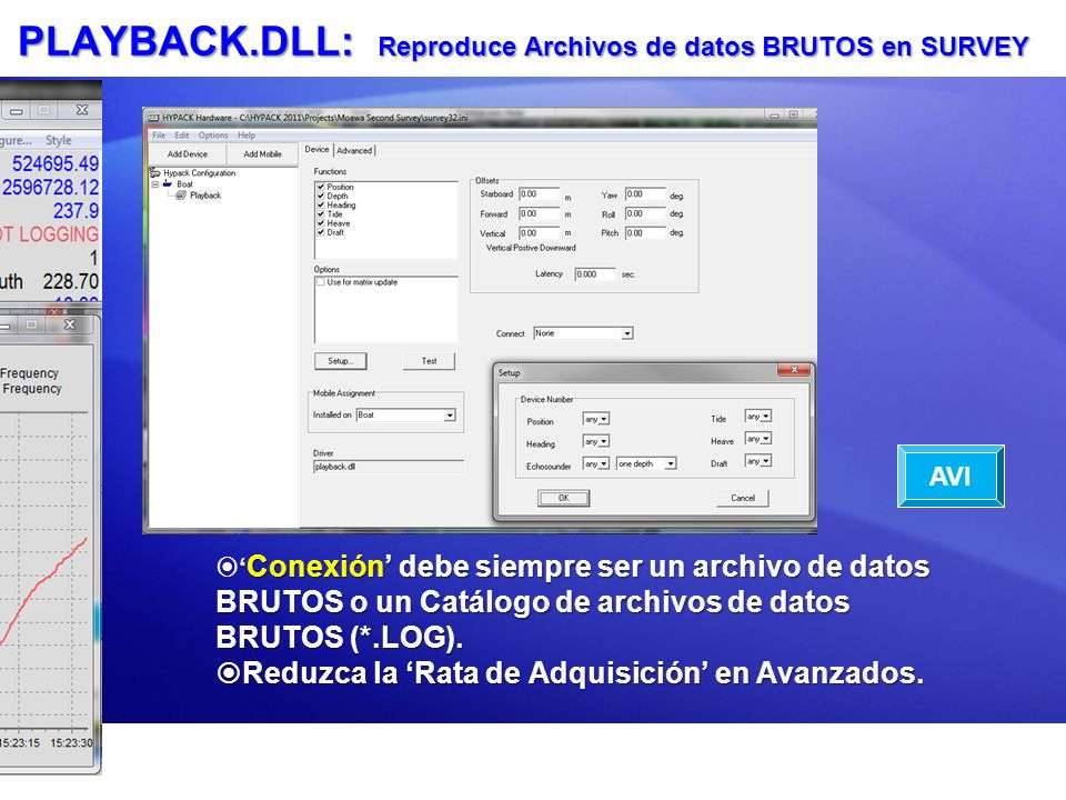 PLAYBACK.DLL: Reproduce Archivos de datos BRUTOS en SURVEY