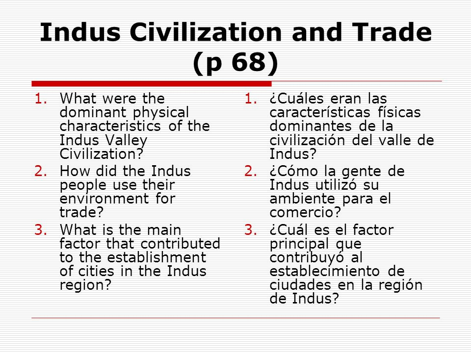 Indus Civilization and Trade (p 68)