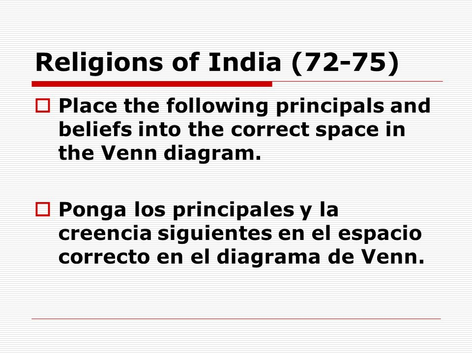 Religions of India (72-75) Place the following principals and beliefs into the correct space in the Venn diagram.
