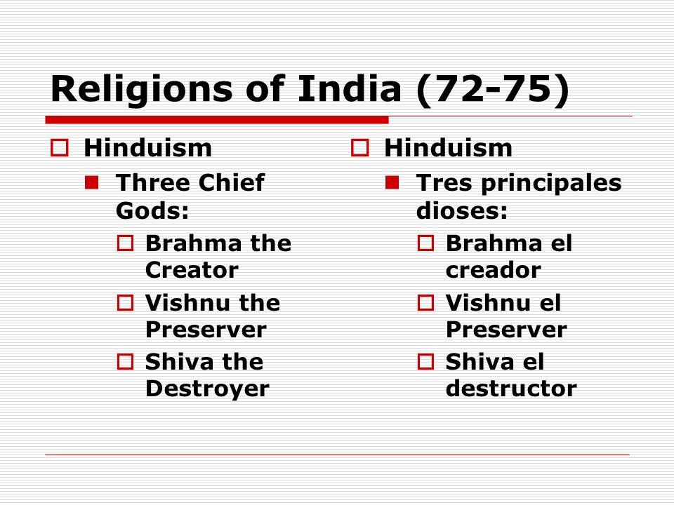Religions of India (72-75) Hinduism Hinduism Three Chief Gods:
