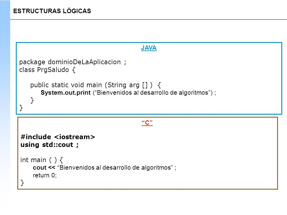 ESTRUCTURAS LÓGICAS JAVA. package dominioDeLaAplicacion ; class PrgSaludo { public static void main (String arg [] ) {