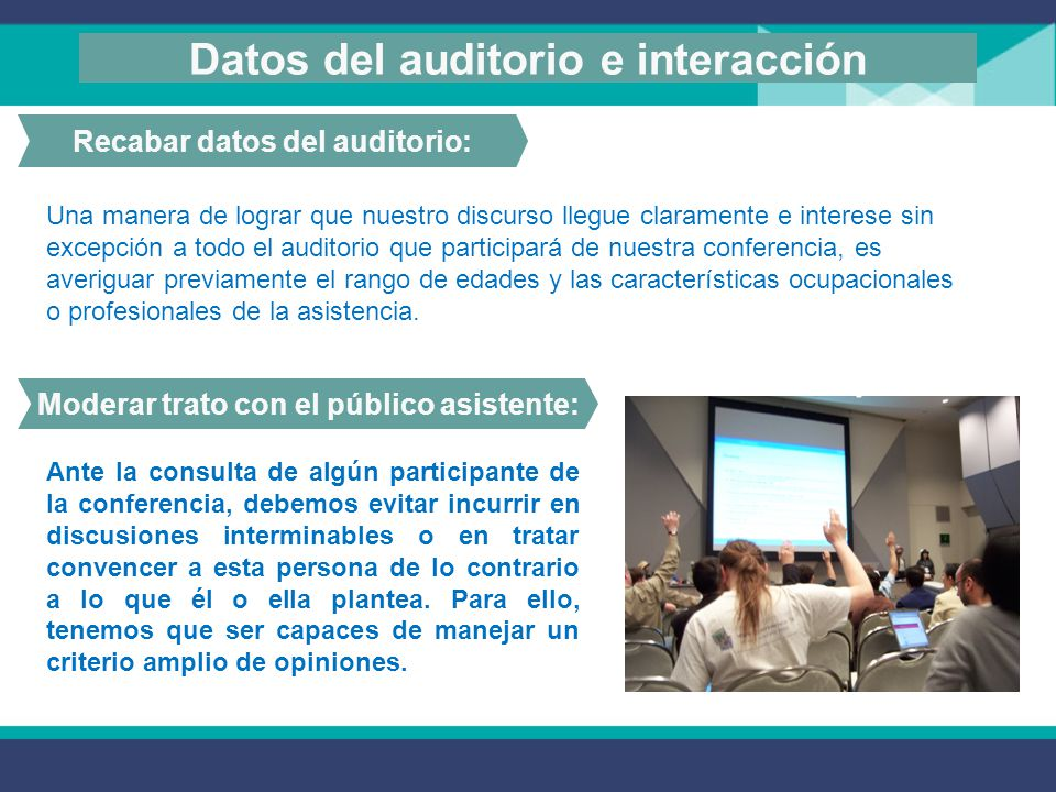 Datos del auditorio e interacción