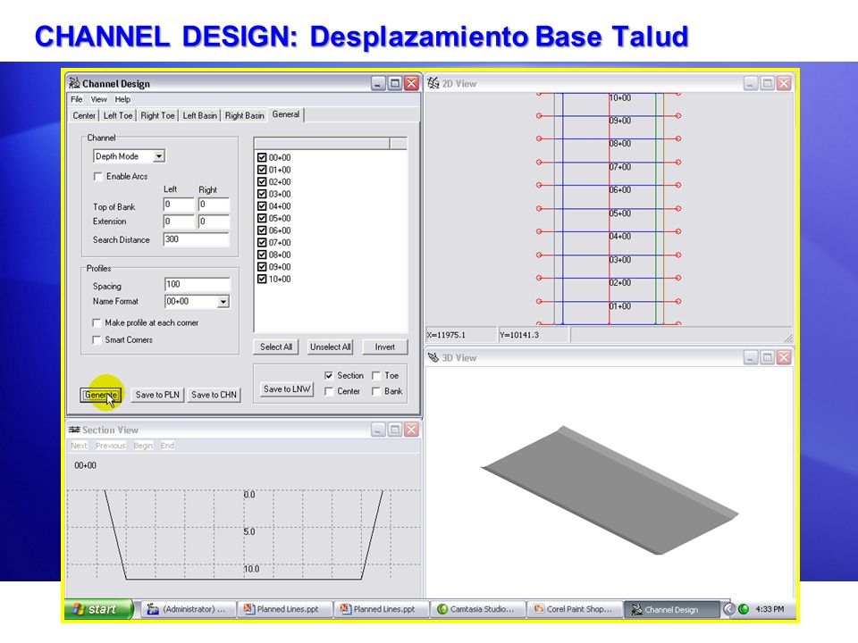 CHANNEL DESIGN: Desplazamiento Base Talud