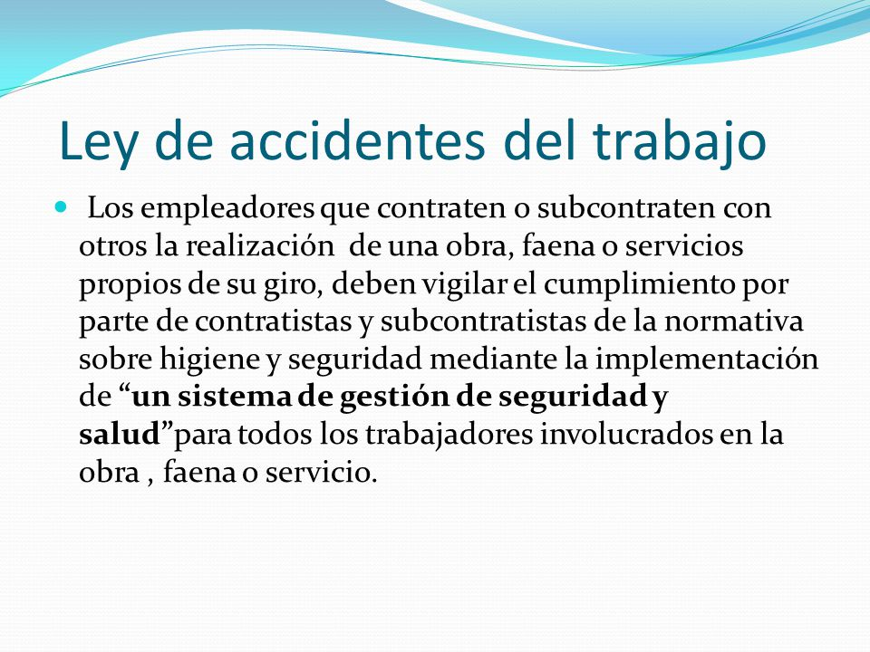 Ley de accidentes del trabajo