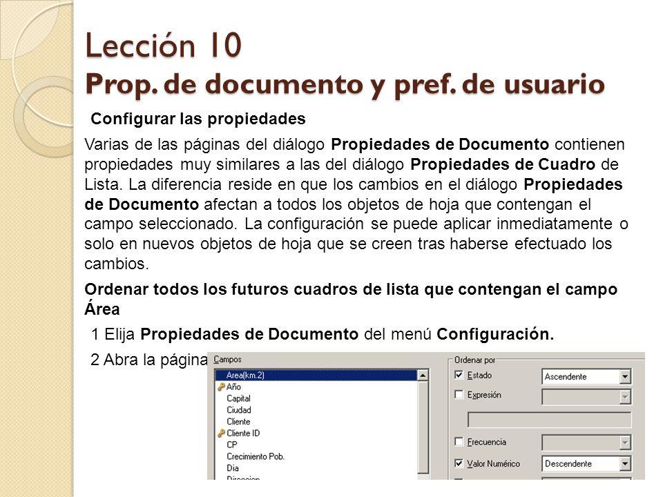 Lección 10 Prop. de documento y pref. de usuario - ppt descargar