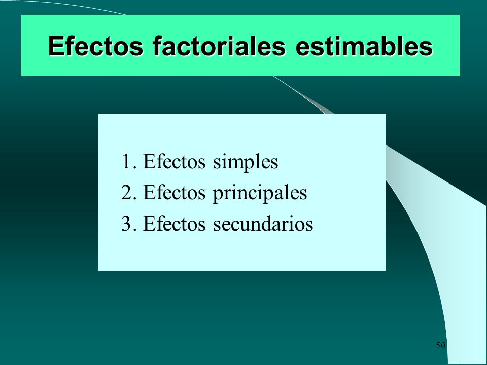 Efectos factoriales estimables
