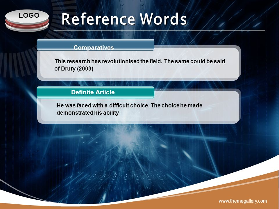 Reference Words Comparatives Definite Article