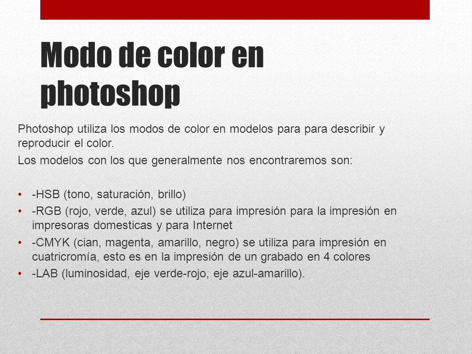 Modo de color en photoshop
