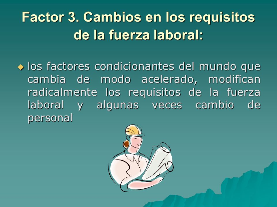 Factor 3. Cambios en los requisitos de la fuerza laboral: