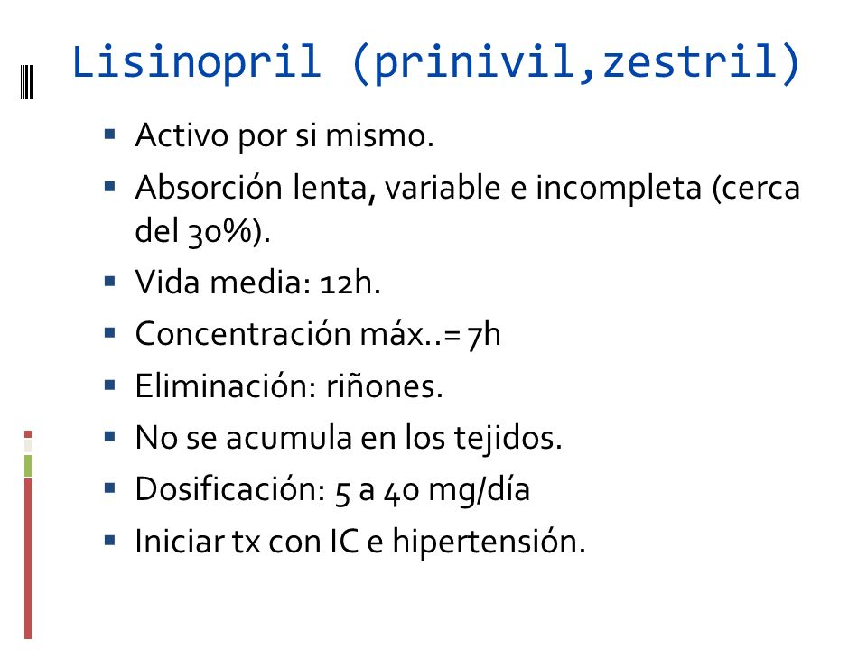 Lisinopril (prinivil,zestril)