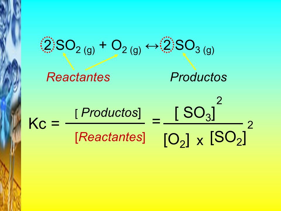 [ SO3] = Kc = [SO2] [O2] 2 SO2 (g) + O2 (g) ↔ 2 SO3 (g) x Reactantes
