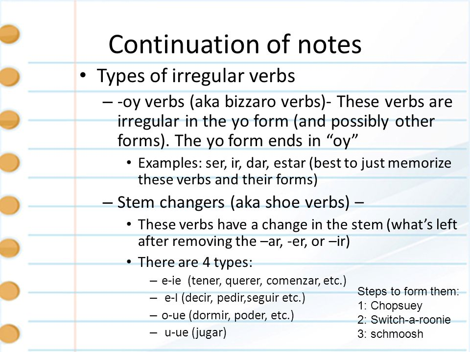 Continuation of notes Types of irregular verbs