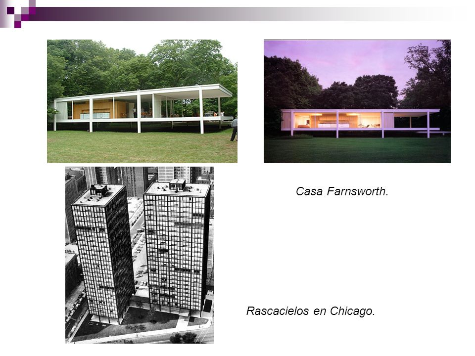 Casa Farnsworth. Rascacielos en Chicago.