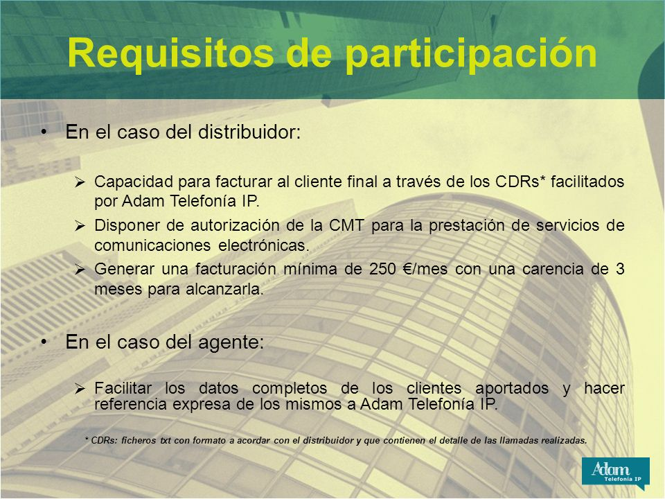 Requisitos de participación