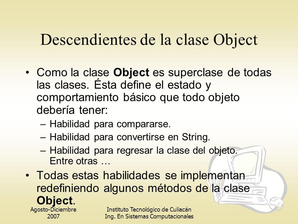 Descendientes de la clase Object