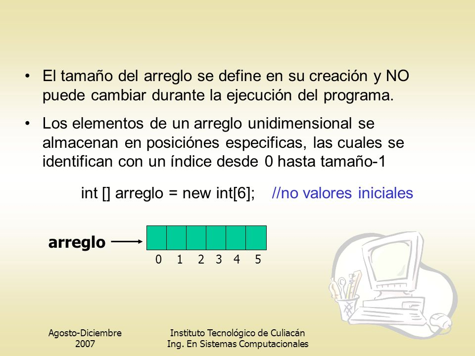 int [] arreglo = new int[6]; //no valores iniciales