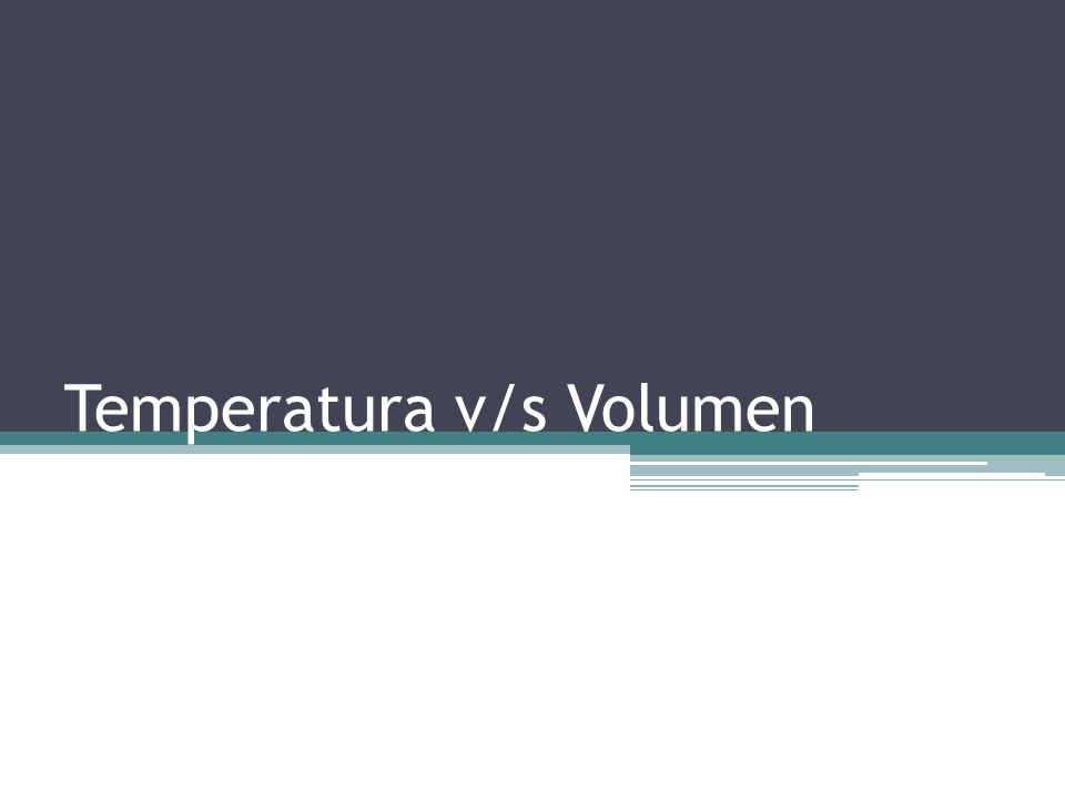 Temperatura v/s Volumen