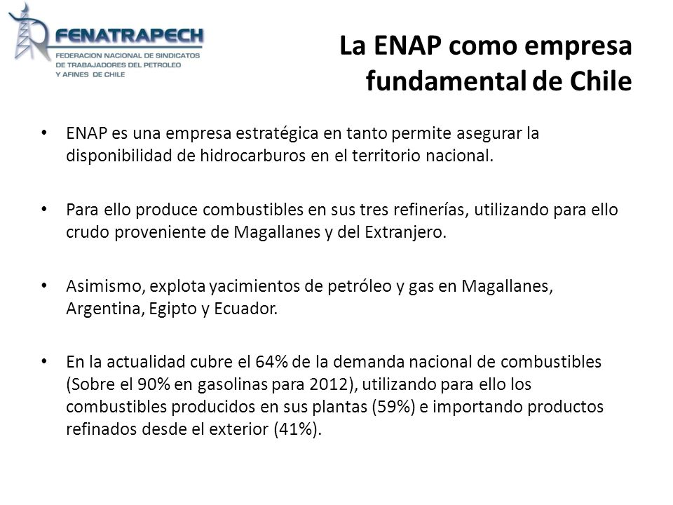 La ENAP como empresa fundamental de Chile