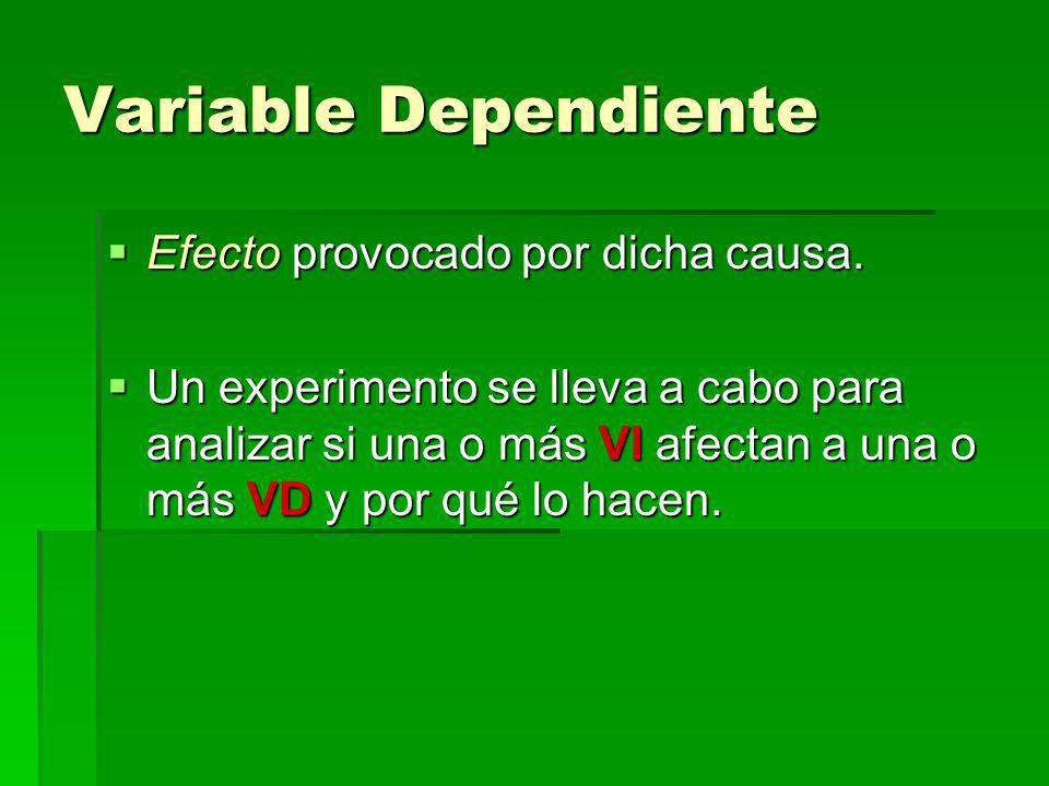 Variable Dependiente Efecto provocado por dicha causa.