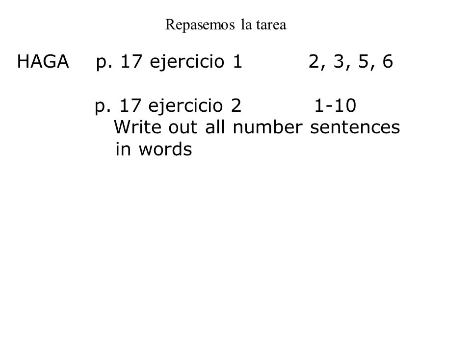 Write out all number sentences in words