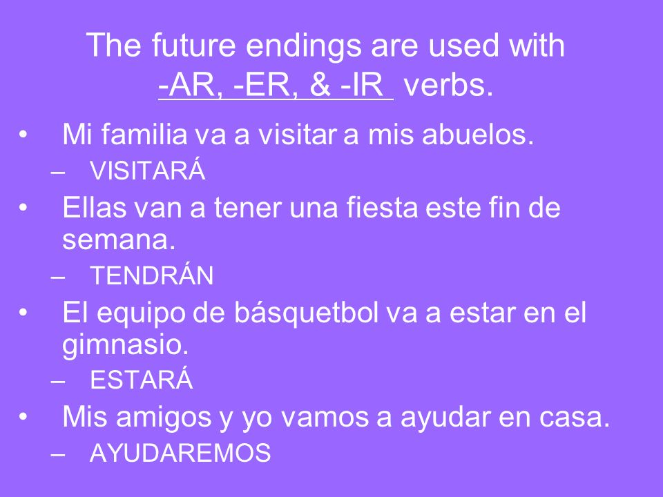 The future endings are used with -AR, -ER, & -IR verbs.