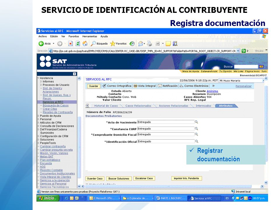 Registra documentación