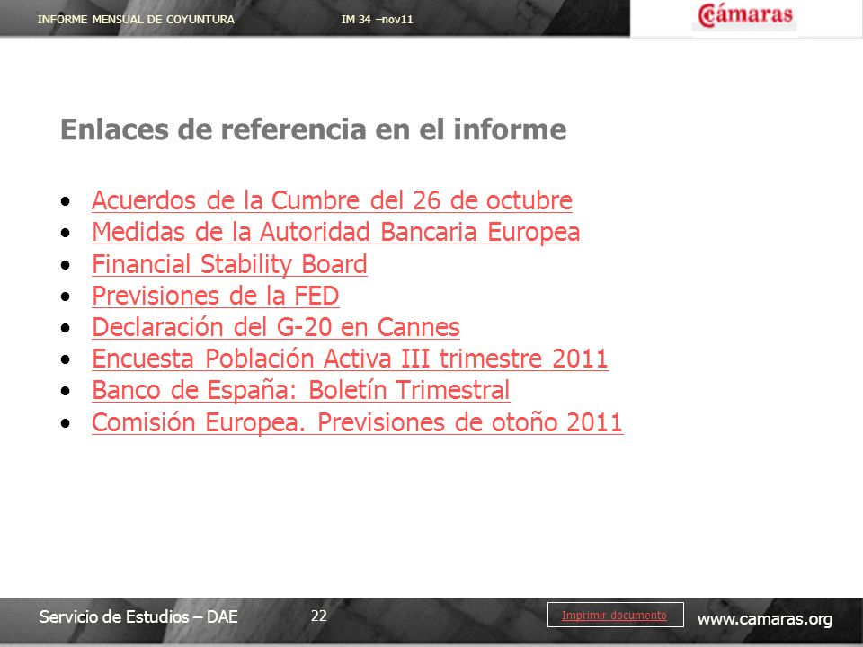 Enlaces de referencia en el informe