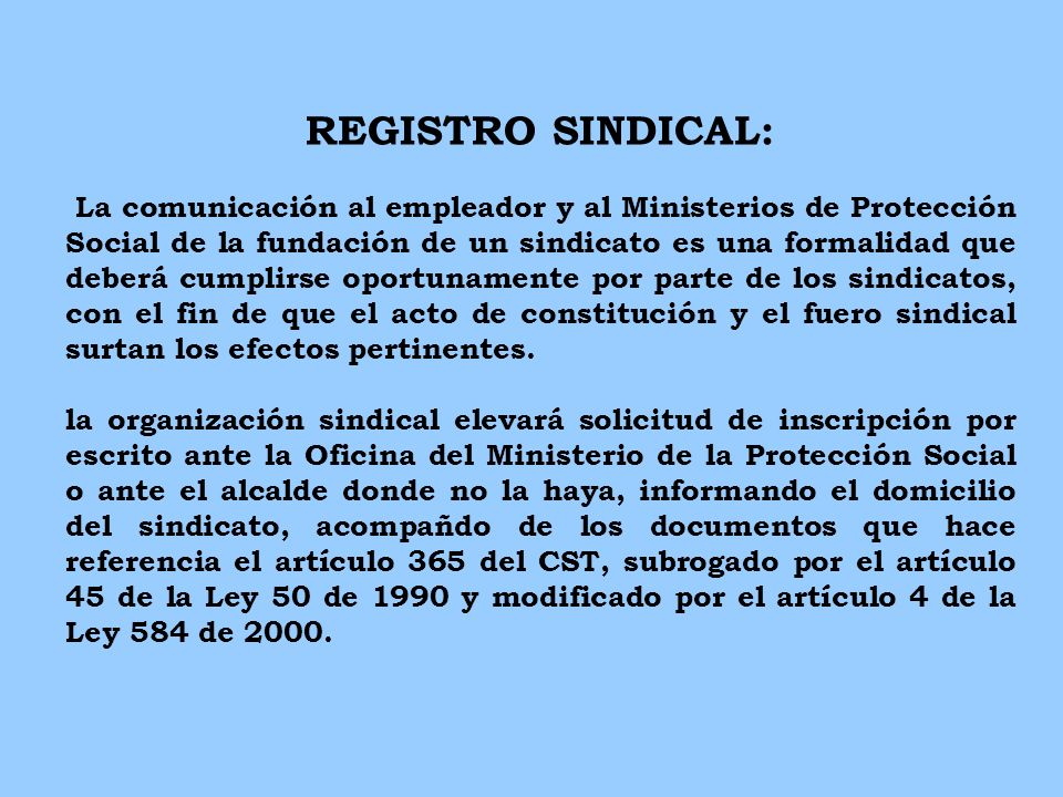 REGISTRO SINDICAL: