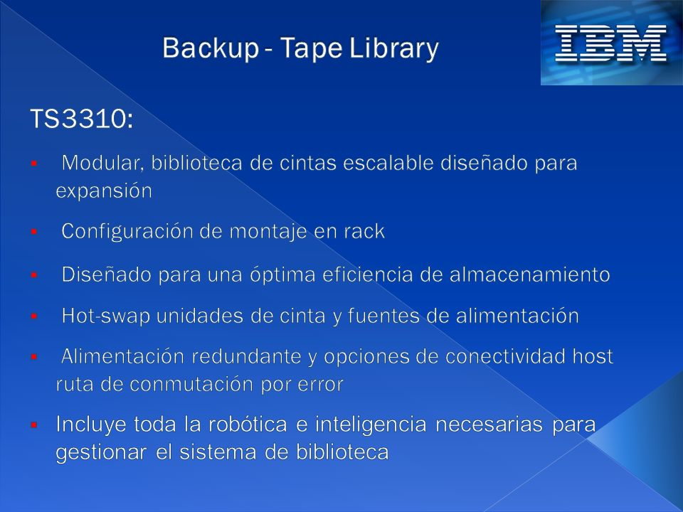 Backup - Tape Library TS3310:
