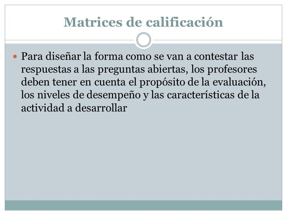 Matrices de calificación