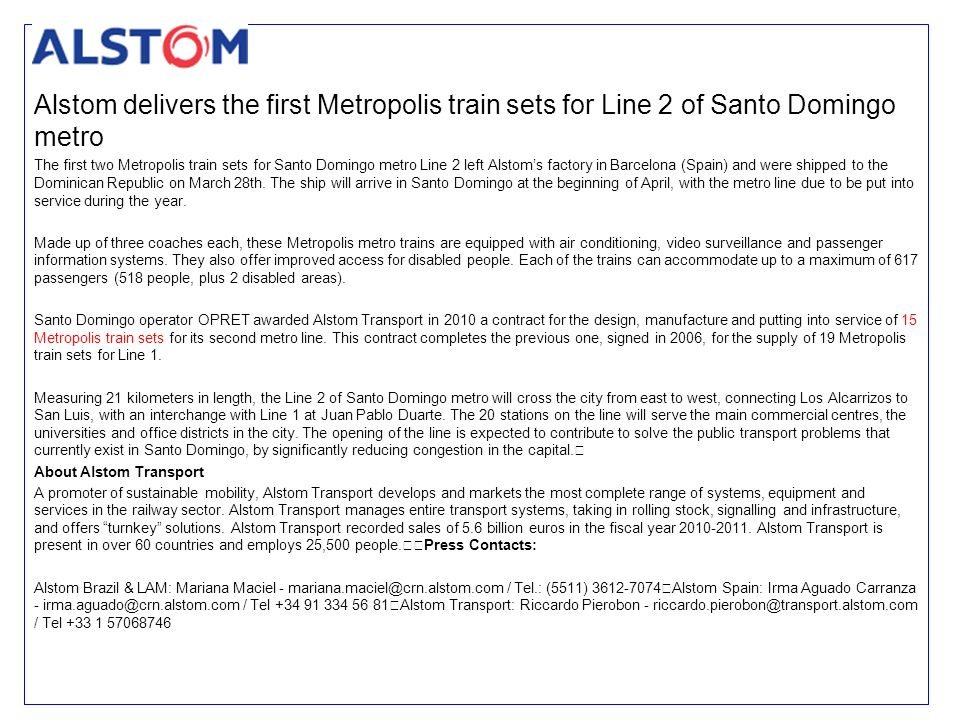 Alstom delivers the first Metropolis train sets for Line 2 of Santo Domingo metro
