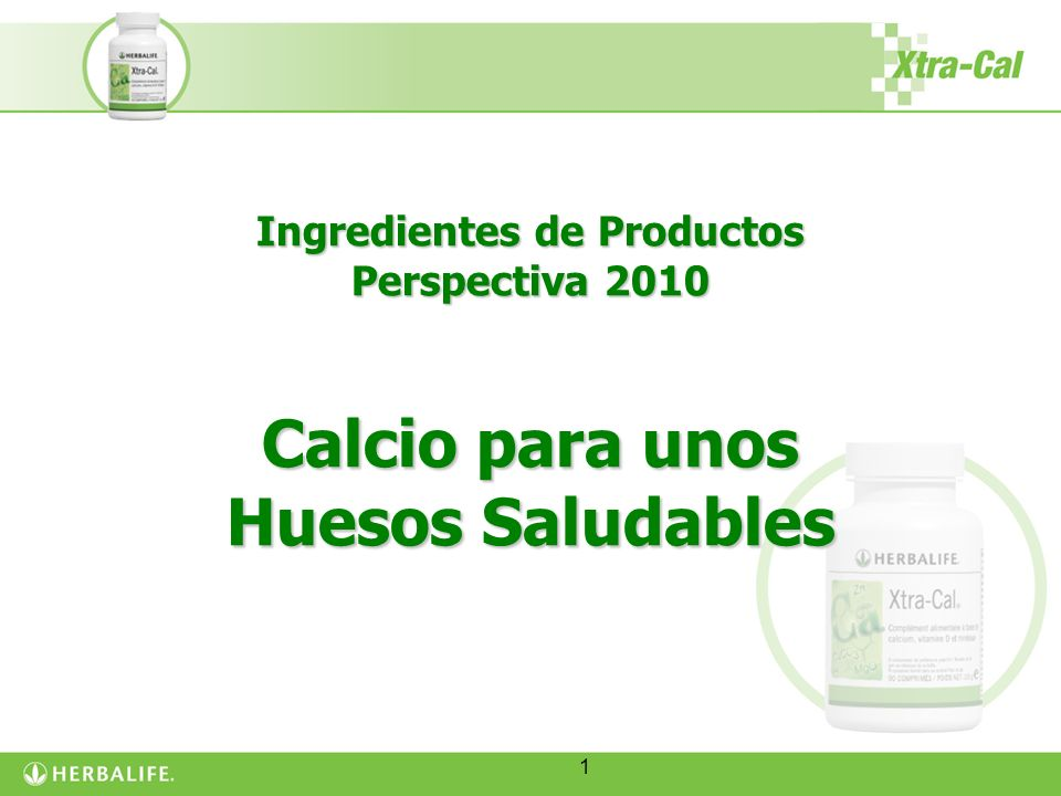 Ingredientes de Productos Perspectiva 2010 Calcio para unos Huesos Saludables