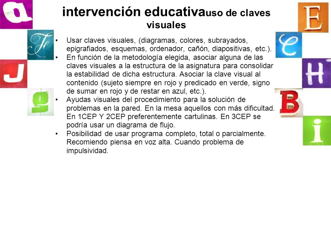 intervención educativauso de claves visuales