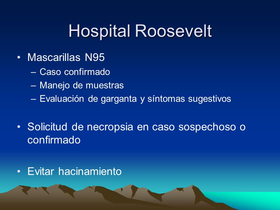Hospital Roosevelt Mascarillas N95