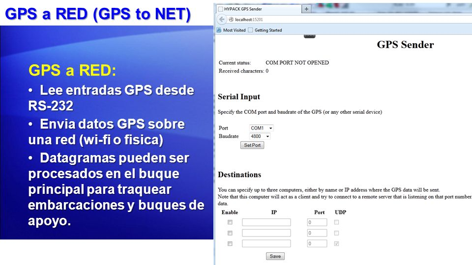 GPS a RED (GPS to NET) GPS a RED: Lee entradas GPS desde RS-232
