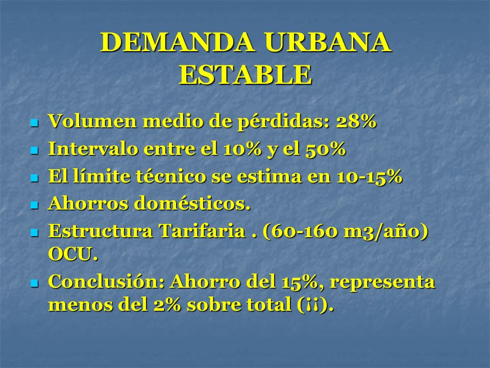 DEMANDA URBANA ESTABLE