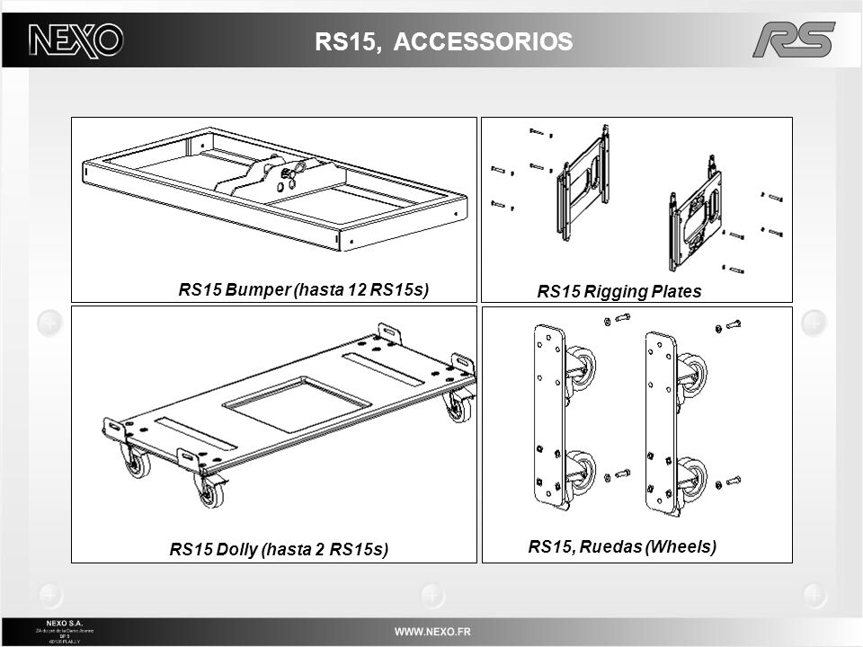 RS15, ACCESSORIOS RS15 Bumper (hasta 12 RS15s) RS15 Rigging Plates