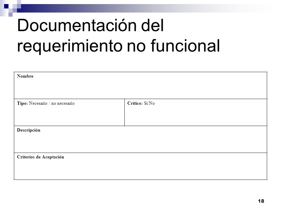 Documentación del requerimiento no funcional