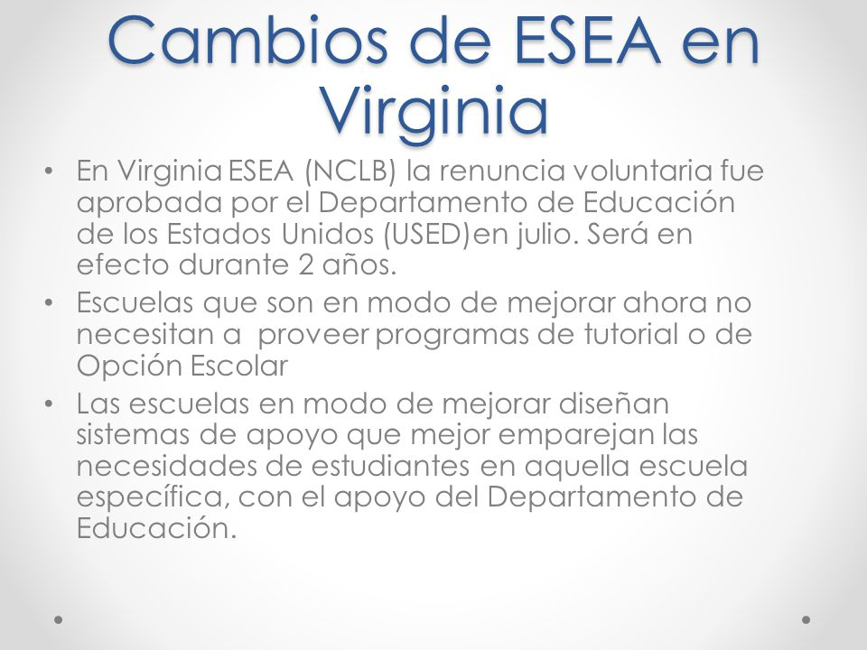 Cambios de ESEA en Virginia