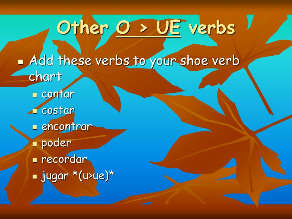 Other O > UE verbs Add these verbs to your shoe verb chart contar