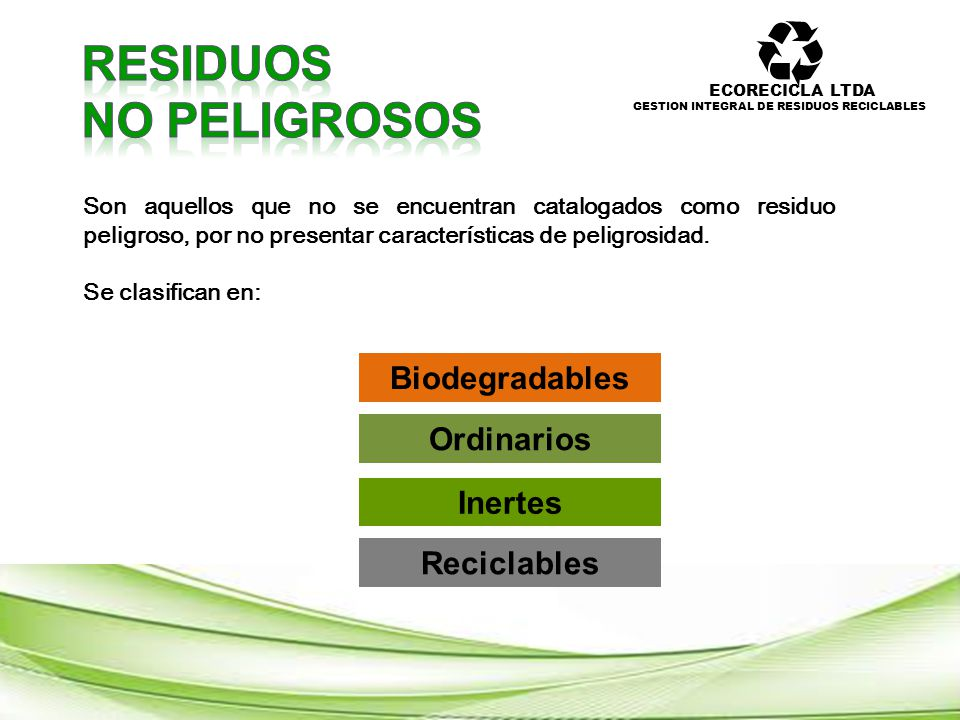 RESIDUOS NO PELIGROSOS Biodegradables Ordinarios Inertes Reciclables
