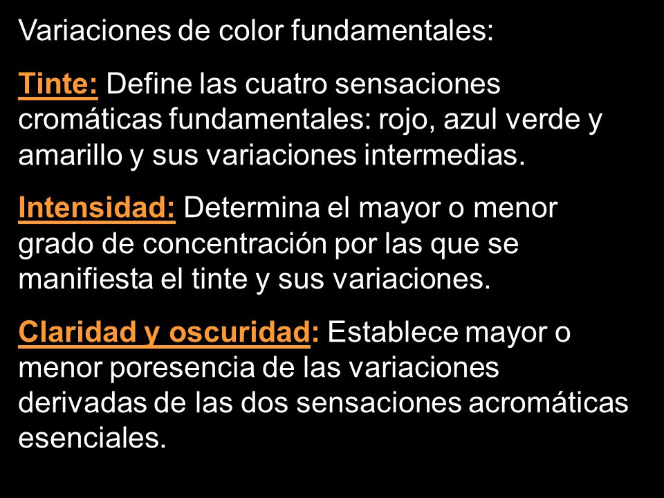 Variaciones de color fundamentales:
