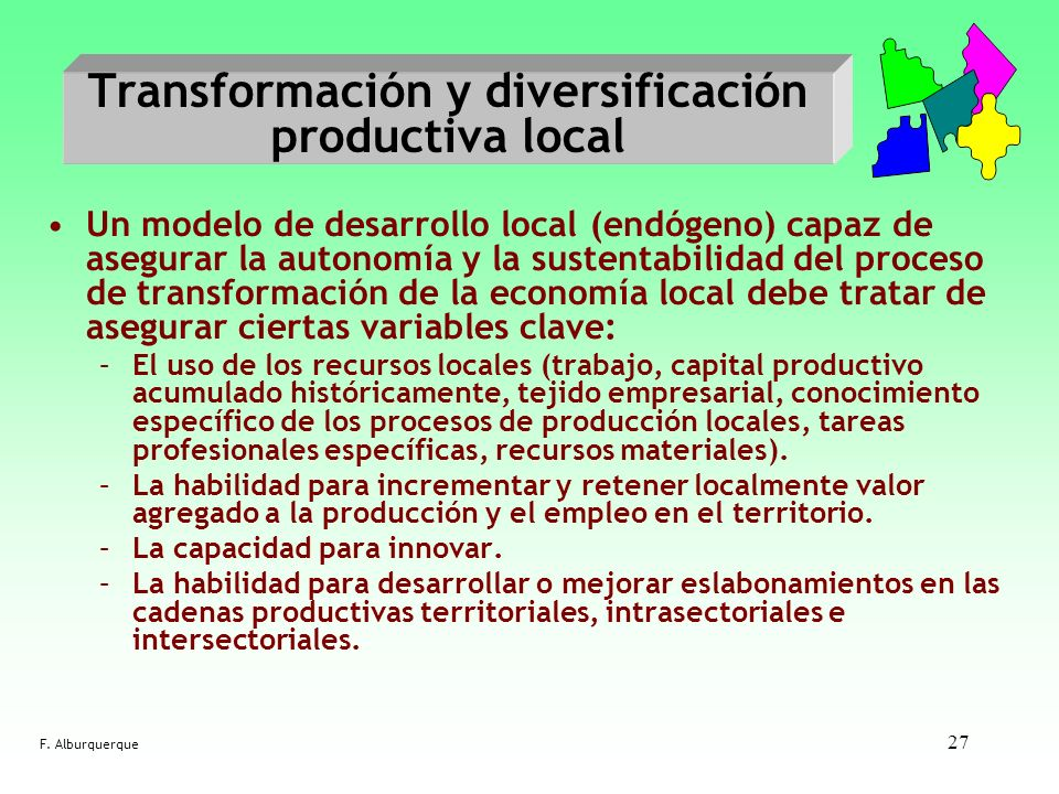 Transformación y diversificación productiva local