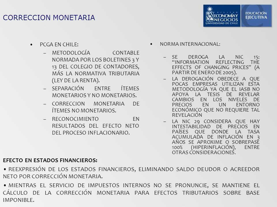 CORRECCION MONETARIA EFECTO EN ESTADOS FINANCIEROS: