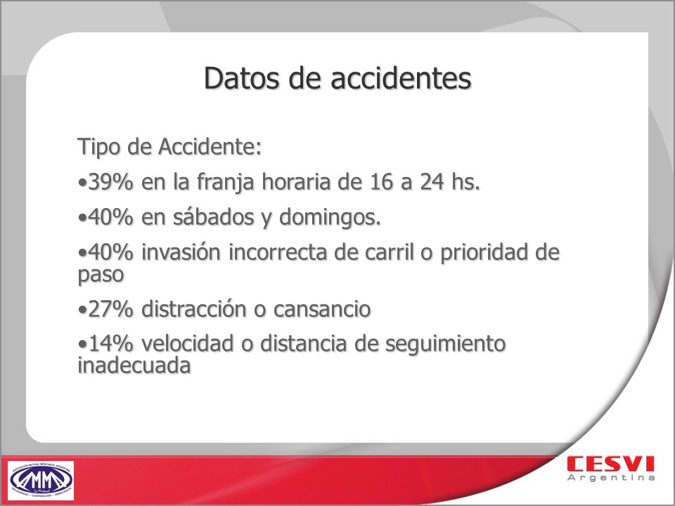 Datos de accidentes Tipo de Accidente: