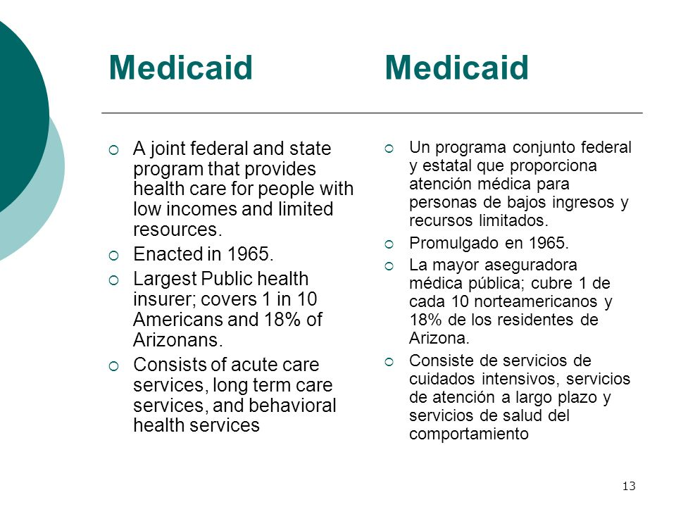 Medicaid Medicaid. A joint federal and state program that provides health care for people with low incomes and limited resources.